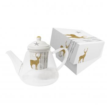Glass Teapot with Strainer GB Mystic Deer r. gold